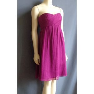 J.Crew Silk Taryn Magenta Party Strapless Dress 12